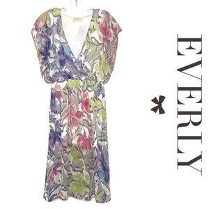 Everly watercolor floral blouson midi dress size M
